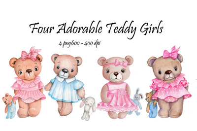 Four adorable Teddy bears girls. Watercolor.