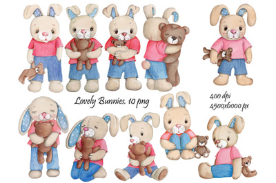 10 Lovely Bunnies. Watercolor illustrations.