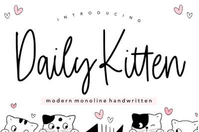 Daily Kitten Modern Monoline Handwritten Font