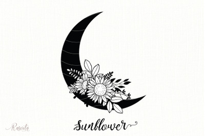 Silhouette Of The Moon With Flowers
