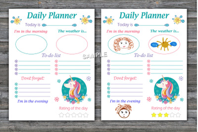 Unicorn daily planner,Kids daily planner