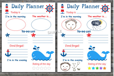 Whale daily planner,Kids daily planner