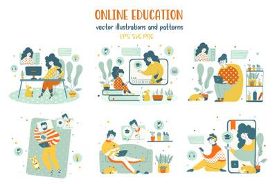 Online education - illustrations