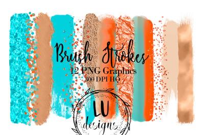 Beach Brush Strokes Clipart, Summer Paint Strokes, Confetti Overlay