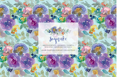 Watercolor Soft Florals Clipart Collection