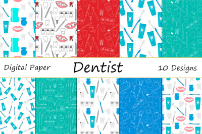 Seamless patterns Dentist dentistry dental treatment vector