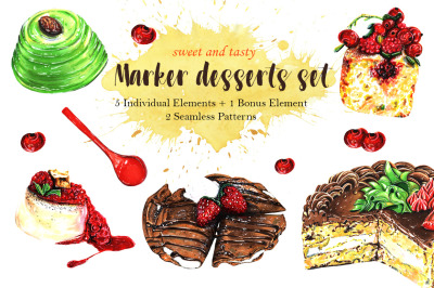 Collection of Sweet Desserts. Tasty set drawn by markers