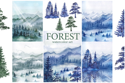 Watercolor Forest Digital Clipart Set. Forest trees, pines, mountains.