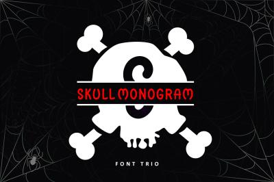Skull Monogram - Font Trio For Halloween