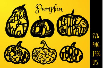Pumpkin quote Paper Cut template SVG / PNG / EPS / JPEG Files