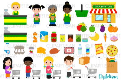 Grocery Store Clip Art, Groceries, Shopping, Shopping Cart, Supermarke