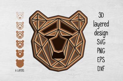 3D Layered Bear SVG