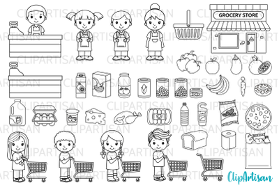 Grocery Store Clip Art, Groceries, Shopping, SVG