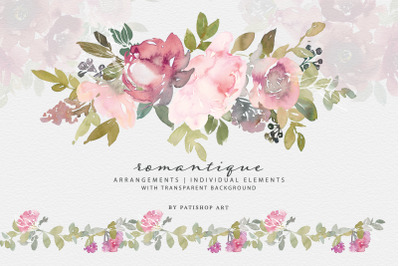 Watercolor Blush and Burgundy Floral Clipart Set