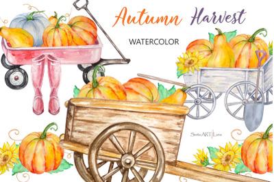 Watercolor Autumn Harvest Pumpkins