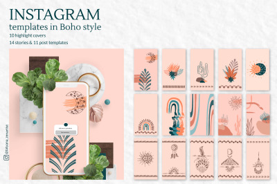 Collection of Instagram templates in Modern boho art style