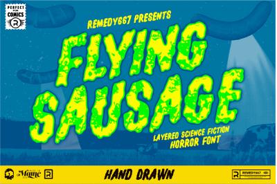 Flying Sausage - Layered Sci Fi Font