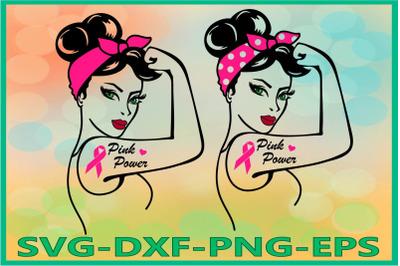 Rosie SVG, Rosie the Riveter svg, Pink Power, Breast Cancer