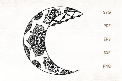 Floral Crescent Moon SVG - Moon SVG Cut File