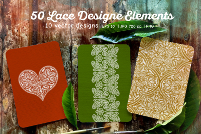 50 lace design elements set