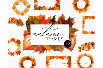Watercolor autumn leaves clipart. Thanksgiving clipart with fall wreat