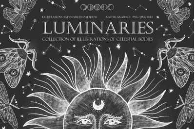 Luminaries. Celestial bodies and moths