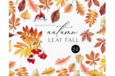 Autumn watercolor leaf clipart Kawaii fall clipart  Thanksgiving clipa