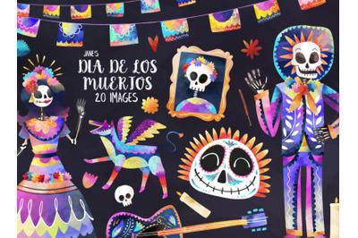 Watercolor Dia de los Muertos Set