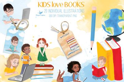 Kids reading/ back to school illustration set of 20 individual illustr