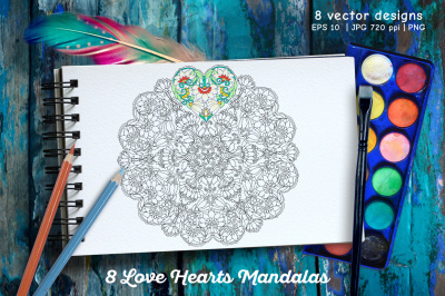 8 Love Heart Mandalas