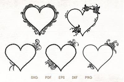 Floral Heart Frames SVG - Floral Frame Vector