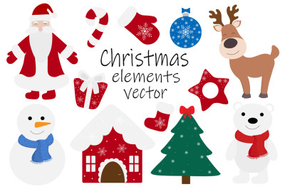 Set New Year Christmas elements vector illustration