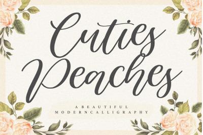 Cuties Peaches Beautiful Modern Calligraphy Font