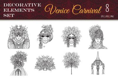 8 Venice Carnival elements set
