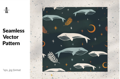 Magical whale seamless pattern