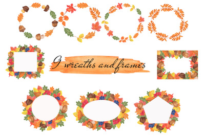 Autumn watercolor wreaths and frames