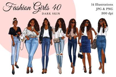 Watercolor Fashion Clipart - Fashion Girls 40 - Dark Skin