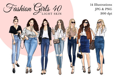 Watercolor Fashion Clipart - Fashion Girls 40 - Light Skin