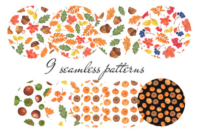 Autumn watercolor patterns