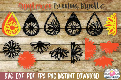 Sunflower Earring Template Bundle,Faux leather, wood earring template