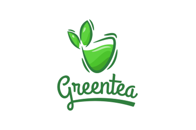 Green tea with cup shape logo template