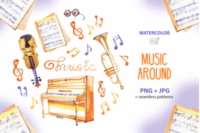 Music around - watercolor cliparts