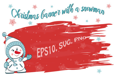 Christmas banner with a snowman