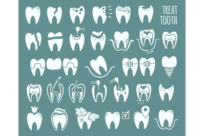 Tooth set icon isolated in background