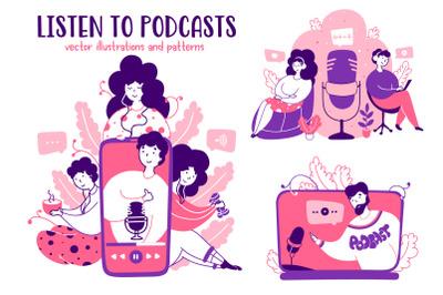 Podcasts - Cartoon Illustrations