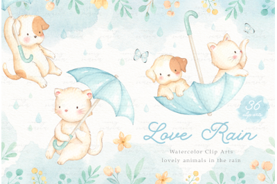 Love Rain Watercolor Cliparts