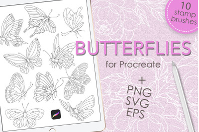 Butterflies brush stamps for Procreate