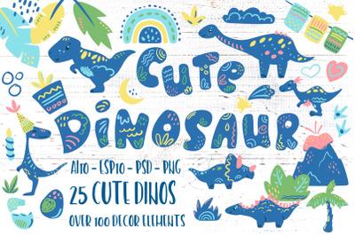 Cute Dinosaur Birthday Vector Clipart