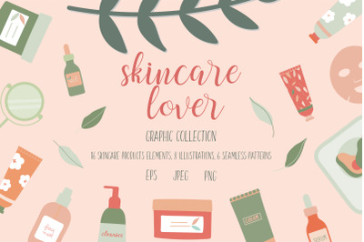 Skincare lover graphic design elements collection