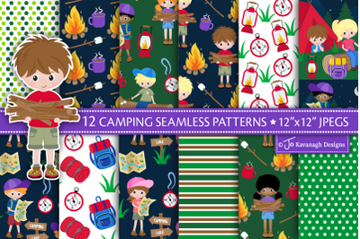 Camping Digital Paper, Camping Patterns -P51